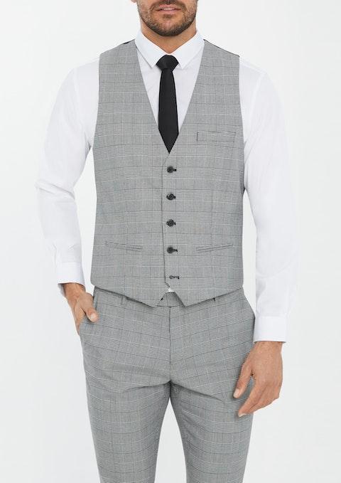 Grey Paxton Check Waistcoat