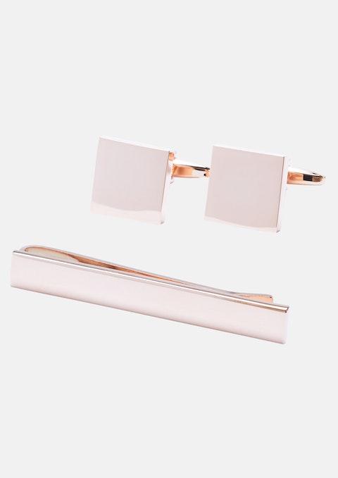 Rose Gold Cuff & Tie Pin Set