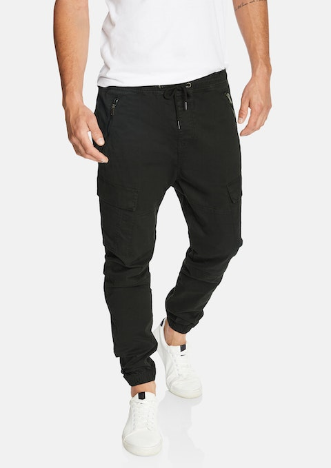 Black Coberg Cuffed Stretch Cargo
