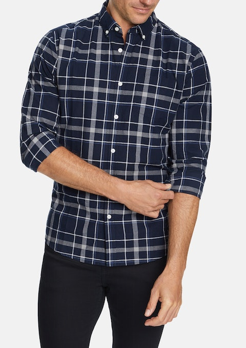 Navy Bernard Slim Casual Shirt