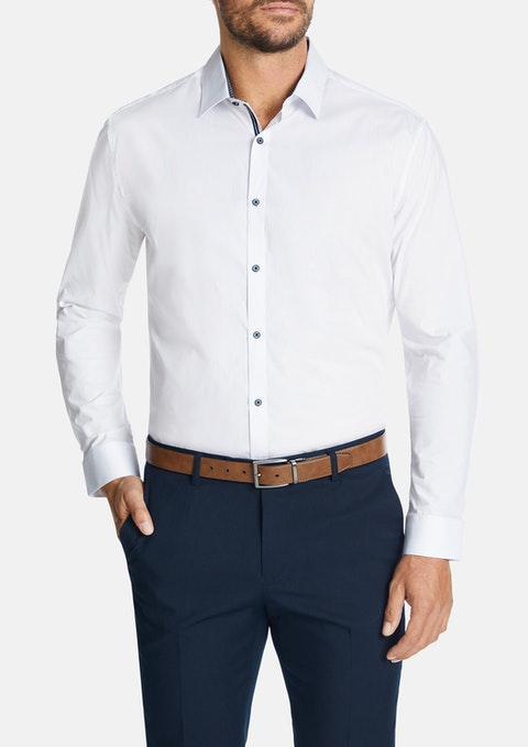 White Michigan Slim Dress Shirt