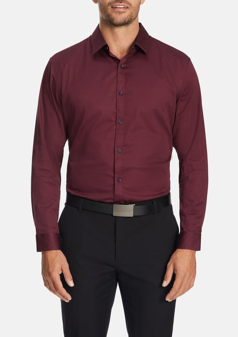 Wine Steadman Slim Dress Shirt
