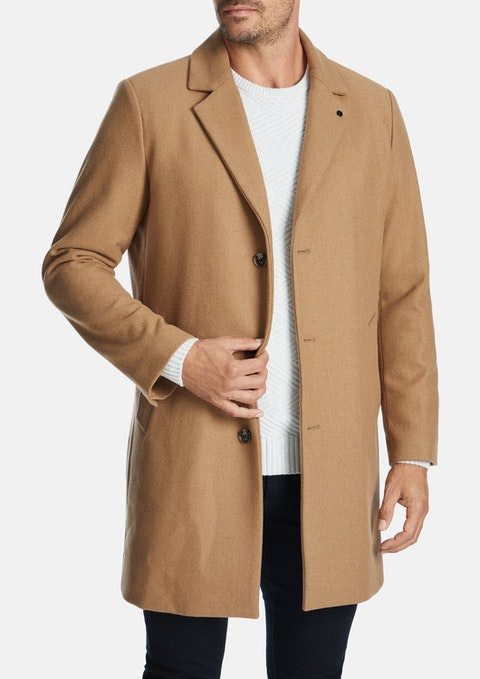 Camel Berkshire Wool Blend Coat