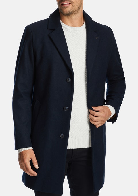 Navy Berkshire Wool Blend Coat
