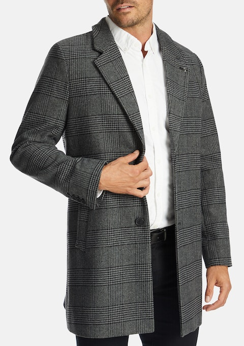 Grey Shire Wool Blend Check Coat