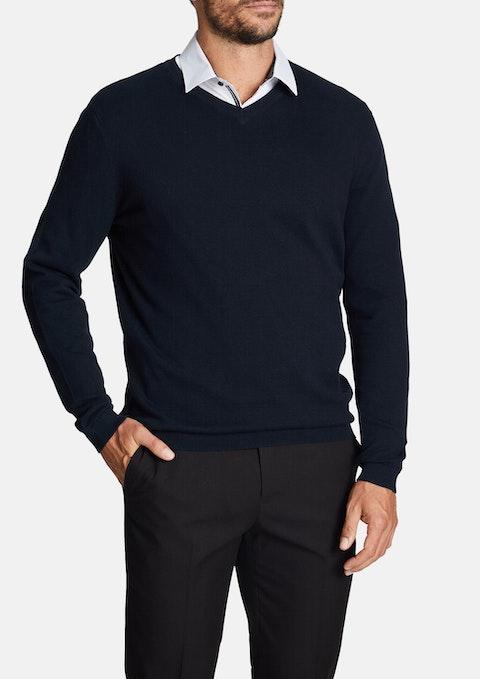 Navy Federer Knit