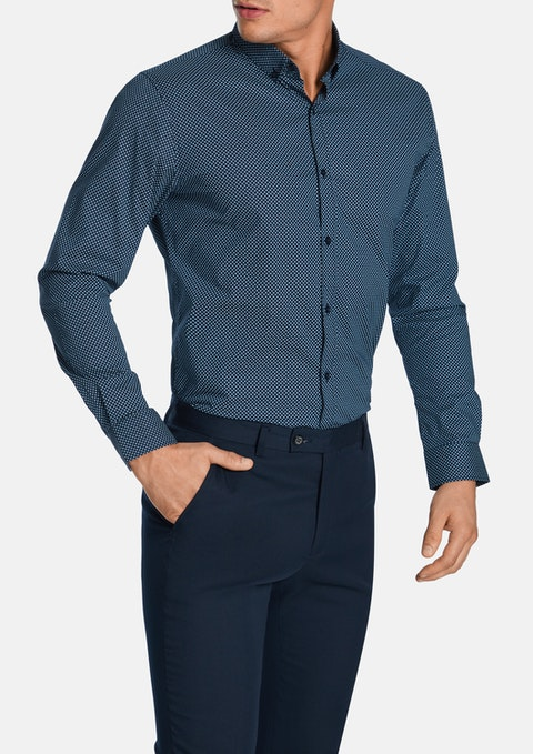 Navy Kane Slim Stretch Shirt