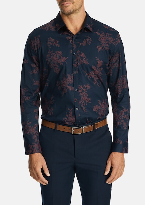 Navy Reyes Slim Stretch Shirt
