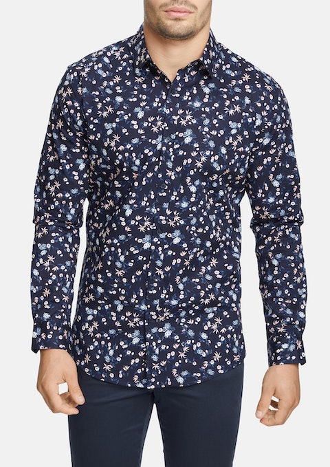 Navy Allenby Slim Stretch Shirt