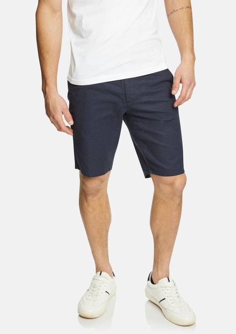 Navy Matthew Linen Blend Short
