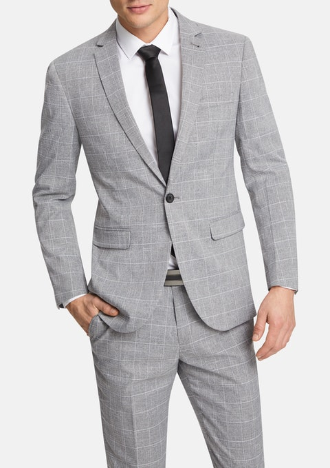 Grey Quebec Slim Suit Jacket