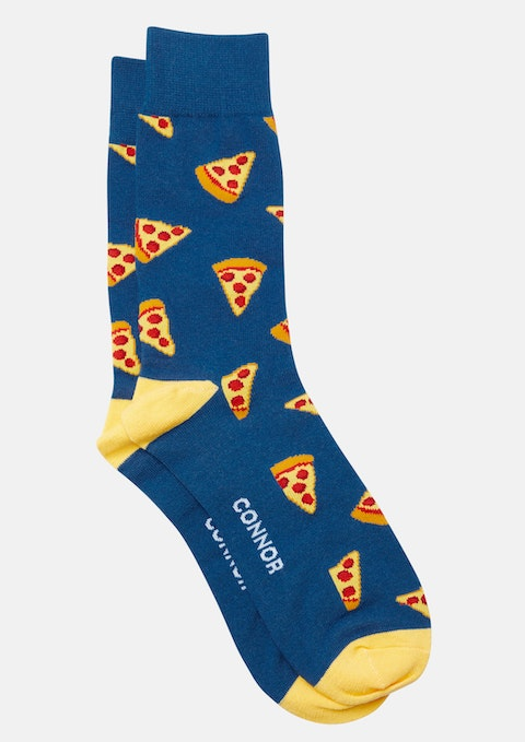 Blue Pizza Slice Sock