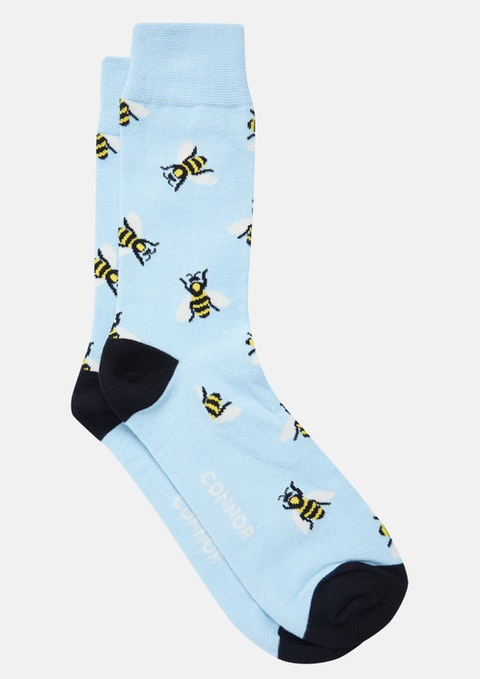 Light Blue Bumble Bee Sock