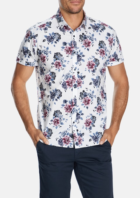 White Allcroft Floral Slim Shirt