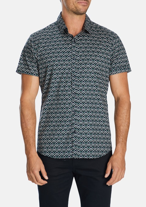 Ink Domino Slim Geo Stretch Shirt