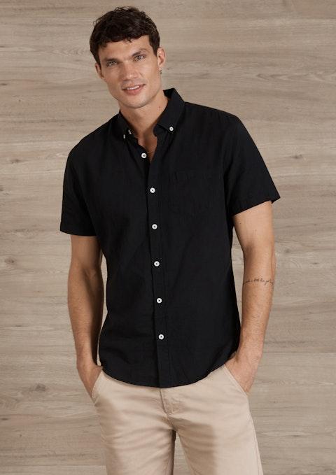 Black Albany Linen Blend Shirt