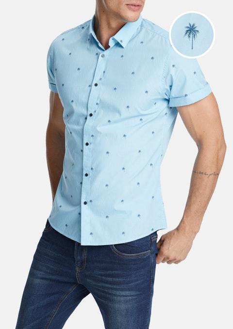 Aqua Palm Tree Slim Shirt