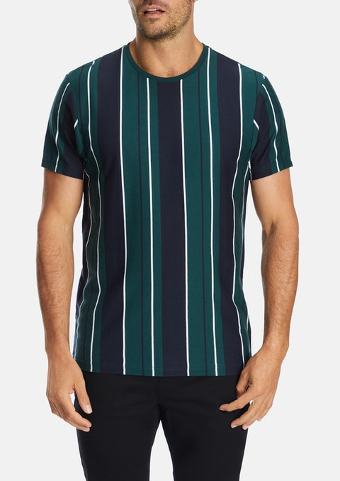 Green Hartley Stripe  Crew Tee