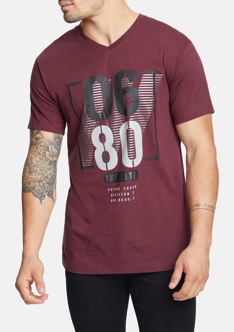 Wine Barry V Neck Tee
