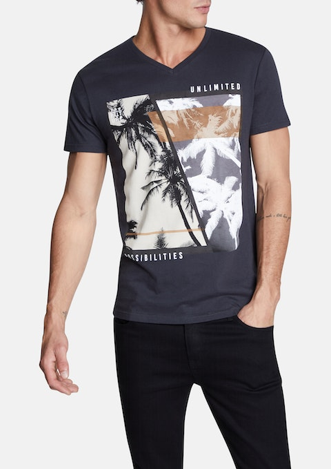Charcoal Briggs V Neck Tee