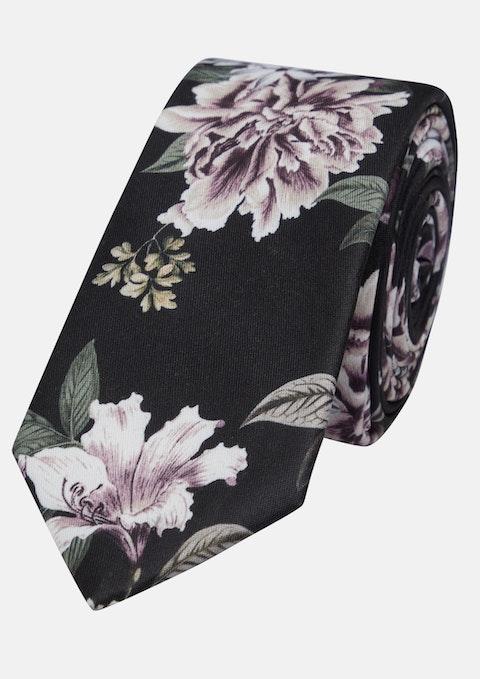 Black Printed Floral 6cm Tie