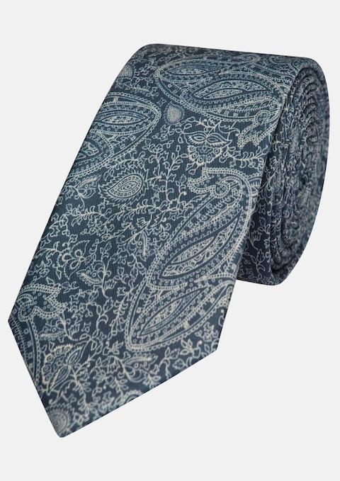 Navy Printed Paisley 7cm Tie